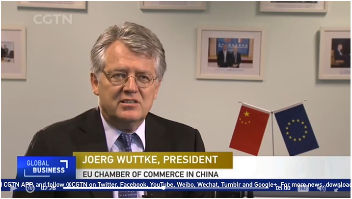 President Joerg Wuttke Talks to CGTN on Foreign Investment in China